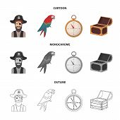 Pirate, Bandit, Hat, Bandage .pirates Set Collection Icons In Cartoon, Outline, Monochrome Style Vec poster
