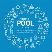 Pool And Water Signs Round Design Template White Thin Line Icon Graphic Concept Include Of Nature Aq poster