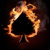 Spades Card in Fire.