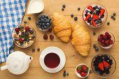 Rich Continental Breakfast. French Crusty Croissants, Muesli, Yogurt, Milk Jar, Tea Pot, Cup Of Hot  poster