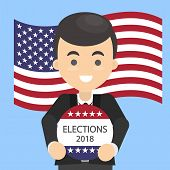 American Election Campaign. Man With Election Ad. poster