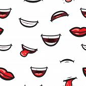 Pattern Smiling Lips, Mouth With Tongue, White Toothed Smile And Sad Expression Mouth And Lips. Lips poster