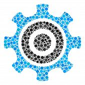 Cogwheel Mosaic Of Dots In Different Sizes And Color Tinges. Circle Elements Are Organized Into Cogw poster