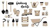 Vector Illustration Of Garden Tool Elements : Spade, Fork, Wheelbarrow, Watering Can, Garden Gloves, poster