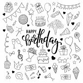 Big Set Of Hand Drawn Doodle Cartoon Objects And Symbols On The Birthday Party. Hand Drawn Brush Pen poster