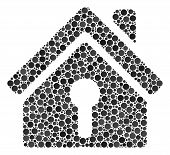 Home Keyhole Mosaic Of Circle Dots In Variable Sizes And Color Tinges. Round Dots Are United Into Ho poster