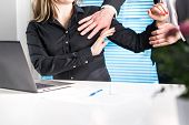 Assistant Defending Herself From Boss In Office. Sexual Harassment And Abuse At Work Concept. Physic poster
