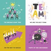 Effective Teamwork Concept 4 Icons Square Poster With Cogwheels And Arrow Heading For Success Isolat poster