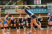 KAPOSVAR, HUNGARY - APRIL 24: Zsofia Horvath (with ball) in action at the Hungarian NB I. League wom