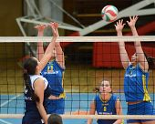 KAPOSVAR, HUNGARY - APRIL 24: Barbara Balajcza (R) in action at the Hungarian NB I. League woman vol