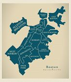 Modern City Map - Boston Massachusetts City Of The Usa With Boroughs And Titles poster