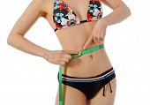 stock photo of sm  - girl in swimwear showing how tin her waust is  - JPG