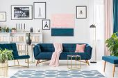 Pink And Blue Elegant Interior poster