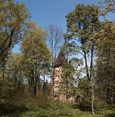 ruined tower Chapelle in Pushkin Town, Russia