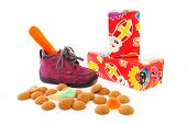 Purple Little Children's Shoe With Presents And Pepernoten