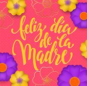 Mothers Day In Spanish Greeting Card Of Red Flowers Pattern And Gold Text Feliz Dia De La Madre. Vec poster