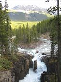 River Upstream From Upper Sunwapta Falls - Jasper National Park, Alberta, Canada