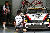 SEPANG - JUNE 18:The Lexus IS350 car of Team SG Changi gets prepared for the practice runs at the Se