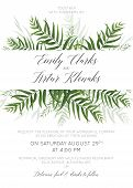 Wedding Invitation, Invite, Save The Date Card Floral Design With Green Tropical Forest Palm Leaves, poster