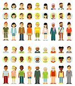 Different Ethnic Smiling Multicultural Persons Icons. Full Length And Avatars. Vector Illustration I poster