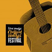 Vector Banner For The Festival Of Live Music With The Inscription Classical Music And Guitar In Retr poster