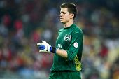 BUKIT JALIL, MALAYSIA - JULY 13: Arsenal's keeper W. Szczesny reacts at half-time against Malaysia on July 13, 2011 in Stadium Bukit Jalil, Malaysia. English league team Arsenal is on an Asia Tour.