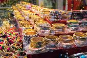 Bright Colorful Tibetan Traditional Bracelets For Sale On The Street Market. Beautiful Shiny Charm B poster