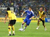 BUKIT JALIL, MALAYSIA - JULY 21: Chelsea's Fernando Torres (blue) leads the attack in this match against Malaysia in the National Stadium on July 21, 2011 in Bukit Jalil, Malaysia. Chelsea won 1-0.