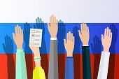 Concept Of Election. Hands Against The Background Of The Russian Flag And Hold Sheets With 2018, Ele poster