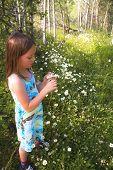 Girl picking mountain flowers