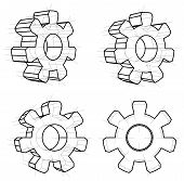 Four Gears, White Background. 3d Gears In Wire-frame Style. 3d Illustration poster