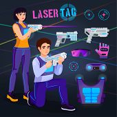 Постер, плакат: Gamer In Laser Tag Vector Player Character Gaming In Lasertag With Gun Shooting In Aim Illustration