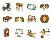 Zodiac Symbols Vector Astrology Zodiacal Signs And Astrological Calendar In Horoscope Aquarius Scorp poster