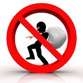 picture of allowance  - 3D sign of no burglar allowed  - JPG