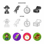 Pirate, Bandit, Ship, Sail .pirates Set Collection Icons In Flat, Outline, Monochrome Style Vector S poster