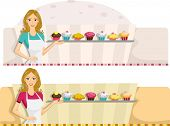 Illustration of a Web Banner with a Patisserie Design