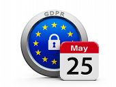 Emblem Of European Union With Calendar Button - The Twenty Fifth Of May - Represents The Implementat poster