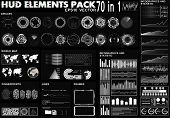 Hud Elements Pack. 70 Elements. Sci Fi Futuristic User Interface. Menu Button. Vector Illustration,  poster