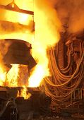 image of blast-furnace  - foundry for steel during melting and processing of metals