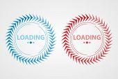 Circular Loading, Vector Element. Set Of Circular Loading Of Blue And Red. Interface Loading Element poster