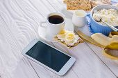 Healthy Organic Breakfast While Using Smartphone. Having Breakfast Using Technologies. Healthy Break poster