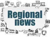 News Concept: Painted Blue Text Regional News On Torn Paper Background With  Hand Drawn News Icons poster