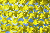 Abstract Blue And Yellow Background, Geometric Shape. Canary Yellow Netting, Cropped Shot. Yellow Ne poster