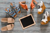 Set Of Womens Shoes (wedges, Heels And Flat Sandals) On Grey Wooden Background. Spring Summer Collec poster