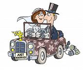 Cartoon wedding car.