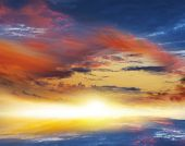 Colorful Sunset . Colorful Clouds With Lens Flare . Beautiful Heavenly Landscape With The Sun In The poster