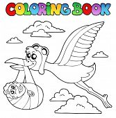 Coloring book with stork and baby - vector illustration.