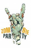 Cartoon Style Vector Zombie Hand Showing Horns Sign. Green Rotten Chopped Off Hand With Sores And Bo poster