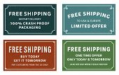 Cool Retro Free Shipping Coupons Or Banners. Four Different Typographic Designs Of Free Shipping Adv poster