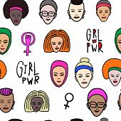 Girl Power Woman Face Feminist Seamless Pattern. Hand Drawn People Of Color Religion Inspiration Gra poster